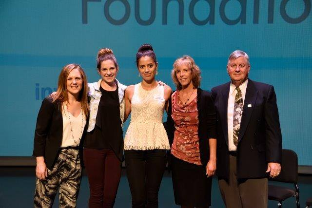 (L-R) Wesbild's Jen Derbyshire, LIFT Recipients Alex & Sofia, CABE v-p Rissa Wilson and director Grender, celebrating the success of Wesbild's LIFT Fund scholarships